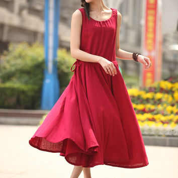 Oversize Linen Dress Women's Red Maxi Dress Coffee Long Dress Maxi Skirt Linen Sundress- WH130,S-4XL
