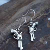 Silver Pistol Earrings from Country Wind