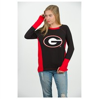 Georgia Color Block Boat Neck Tee | UGA Color Block Boat Neck Jersey | Georgia Bulldogs Apparel