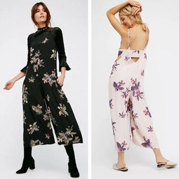 Fashion Print V-Neck Backless Hollow Sleeveless Strap Romper Jumpsuit Wide Leg Trousers