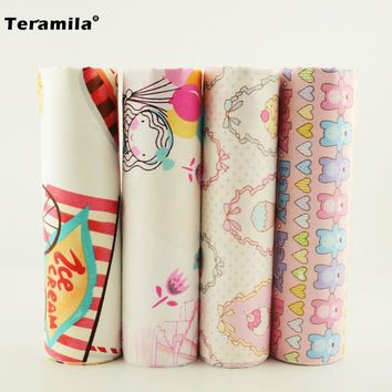 Teramila 100% Cotton Fabric Mix 4PCS 40cmx50cm Cartoon Bears/ice-cream Pattern Material Home Textiles Bedding Quilting Telas