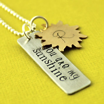 You Are My Sunshine Necklace - Personalized Sun Necklace - Custom Initial
