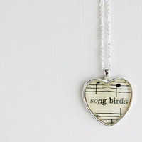 Heart sheet music necklace Silver pendant with by GildedNotes
