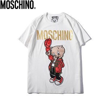 MOSCHINO Summer Newest Women Men Cute Pig Embroidery Round Collar T-Shirt Top White