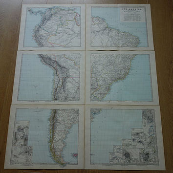 """SOUTH AMERICA map - very LARGE beautiful hand colored 1891 original antique maps of the S. Am continent - vintage poster 96x116cm 38x45"""" big"""