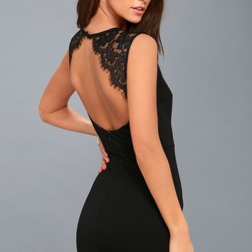 Higher Love Black Lace Backless Bodycon Dress