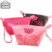 Women Portable Cute Cartoon Hello Kitty Cosmetic Bag Function Beauty Zipper Travel  Make Up Toiletry Pouch Makeup Case Wash Kits