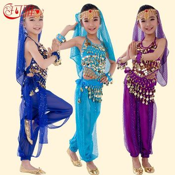 Bellydance Children Costume Belly Dance Costumes for Kids Belly Dancing Girls Bollywood Indian Performance Cloth Set 6 Colors