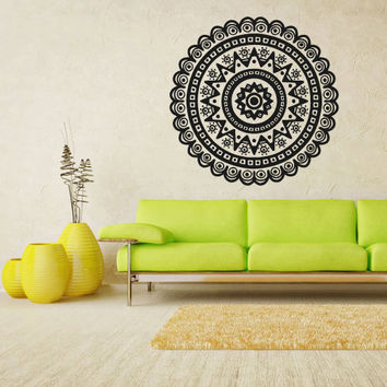 Wall Decal Vinyl  Mural Sticker Art Decor Bedroom Dorm Kitchen Ceiling Mandala Menhdi Flower Pattern Ornament Om Indian Hindu Buddha (z2827)