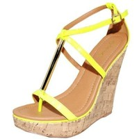 Qupid Metallic Rod Open Toe Cork Wedge Sandals Yellow Quglory-21x (7)