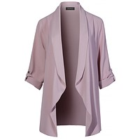 LE3NO Womens Lightweight Loose Draped Open Front Roll Up 3/4 Sleeve Long Blazer Jacket