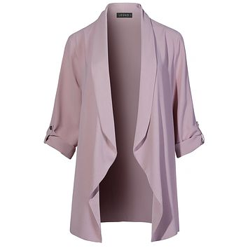 LE3NO Womens Lightweight Loose Draped Open Front Roll Up 3 4 Sleeve Long Blazer  Jacket 90e5c878d