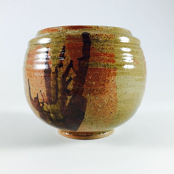 Vintage Stoneware Planter Vase Otagiri Style Bowl Ceramic Brown Orange Speckled Drip Glaze Pottery Home Decor