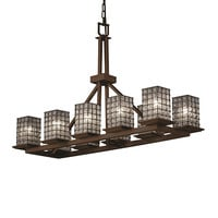 Justice Design Group WGL-8650-15-GRCB-DBRZ Wire Glass Dark Bronze 10-Light Flat Rim Square Rectangular Ring Chandelier - (In Dark Bronze)
