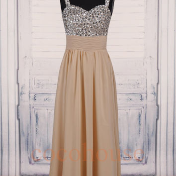 Champagne Crystals Long Prom Dresses, Fashion Bridesmaid Dresses, Homecoming Dresses, Evening Dresses,Hot Party Dresses, Wedding Party Dress