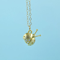 CZ Ladybug Necklace, Gold Plated Brass, Cubic Zirconia, Delicate Chain, Everyday Wear, Perfect Gift, also in Rhodium Plated