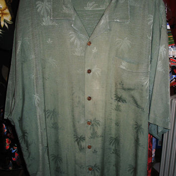 Amazing Vintage Hawaiian Shirt TOMMY BAHAMA  Gray Olive W Palms  Size XL  100% Silk  Very Collectible