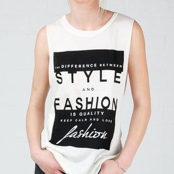 ANGL | Style & Fashion Graphic Muscle Tank Top