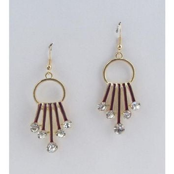 Circle earrings w/decorative rhinestones