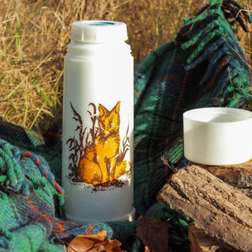 Soviet Fox Thermos / Mercury Glass Insulated Vintage Thermos for Hot & Cold Drinks / Woodland Camping, Picnic Must Have / USSR 1970's