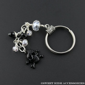 Cross Bones & Skull Cute keychain - Skull Keychain - Black Skull Key Chain For Girls, Teens, Women. Unique Key Chain Under 15 Dollars SRA