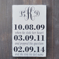 Bridal Shower Gift, Custom Wood Wedding Sign, Wedding Gift, Anniversary gift, Engagement Gift, Important Date Sign, Monogram Sign
