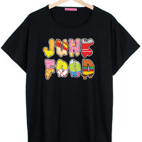 junk food OVERSIZED T SHIRT t tee goth punk cross retro hipster swag dope high vtg tumblr indie grunge womens burger pizza fast ice cream