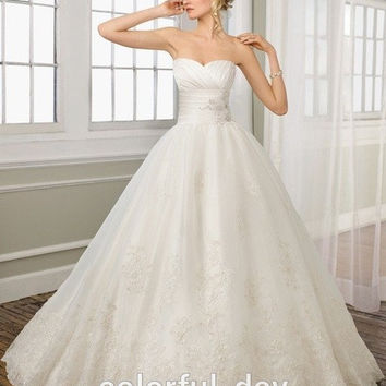 New Fashion Sweetheart Applique Beaded Sexy Wedding Dresses 2015 Backless Bridal Ball Gowns New Arrival