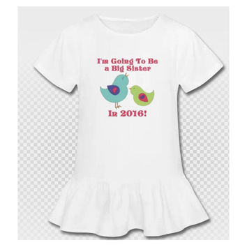Big Sister Birds New Baby Sibling Announcement Shirt - SS6020
