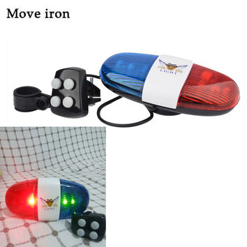 Bicycle Bell 6LED 4Tone Horn for Bicycle Bike Bells Police Car LED Bike Light Electronic Siren for Kids Bike Accessories Scooter