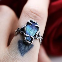 Shop Dixi Boho Ring | Labradorite Coffin / Casket Gothic Thorn Ring