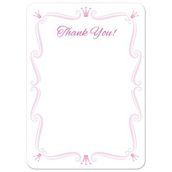 Pink princess birthday party thank you card | Flat notecard