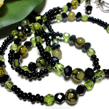 Black Green Beaded Lanyard Id Necklace Jewelry Dragons Vein Crystal Czech Glass with Angel Strong Breakaway Clasp PinkCloudsAndAngels