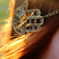 Ethnic Hamsa - Hand of Fatima Headchain Headdress Headpiece Antique Bronze Hippie Hipster Boho Bohemian Gypsy Beach Style
