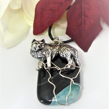 Silver Wolf Pendant on a Chain