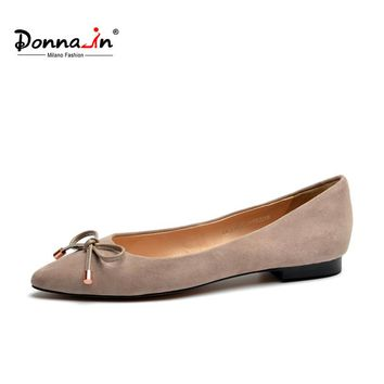 Donna-in 2017 new style pointed toe ballerina handmade kid suede ladies shoes brand women shoes genuine leather flat shoes