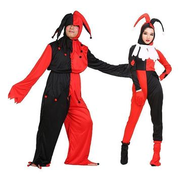Free shipping,halloween adult men women black red check clown costume clown clothes tr