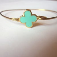 Gold Aqua Mint Clover Quatrefoil Bangle Bracelet Gold Charm - Stackable Bangle Bracelet - Valentine Gift - Bridesmaid Gift - Gift under 15