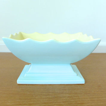 Hull Pottery #157 robins egg blue and yellow scalloped planter