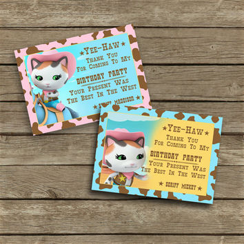 Disney Sheriff Callie's Wild West - Costumized Thank You Cards - Blue & Pink - High Quality 300 DPI- Customized -Party Printables