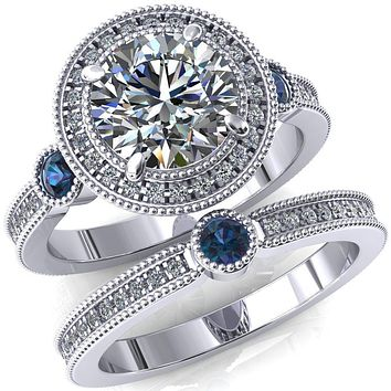 Brachium Round Moissanite Alexandrite Bezel Milgrain Halo 3/4 Eternity Accent Diamond Ring