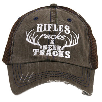 Rifles Racks and Deer Tracks Trucker Hat