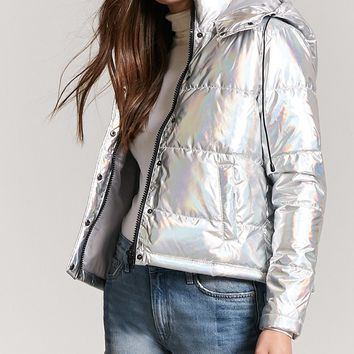 Metallic Hooded Puffer Jacket