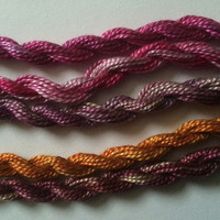Plum, Raspberry and Orange, Collection of 5 threads for embroidery and more