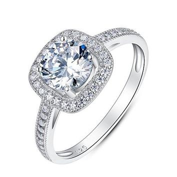 Sterling Silver Solitaire CZ Bridal Engagement Wedding Ring