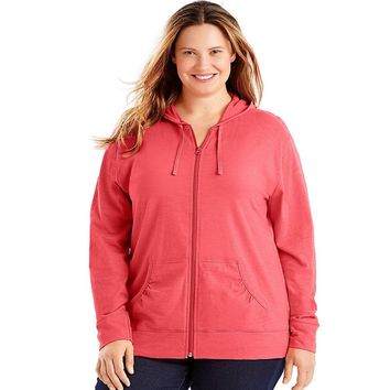 Just My Size Slub-Cotton Full-Zip Women's Hoodie Style: OJ168-Briny Pink 1X