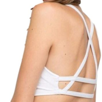 Women's White Criss Cross Back Bandeau Bralette Bras