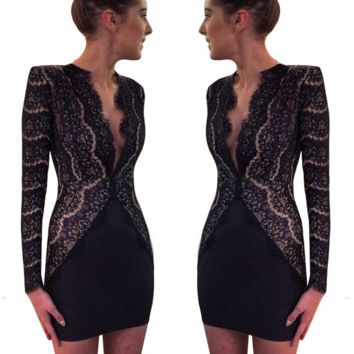 Package hip lace shoulder pads are deep v-neck long-sleeve cultivate one's morality dress
