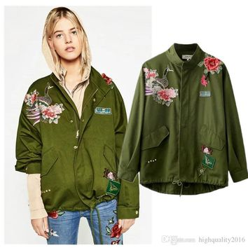 Fashion Spring Autumn Coat Women Cloak Style peacock flower embroidery rivet lap draw string jackets