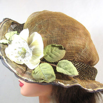Summer Hat of Brown Sinamay with Reassembled Flower